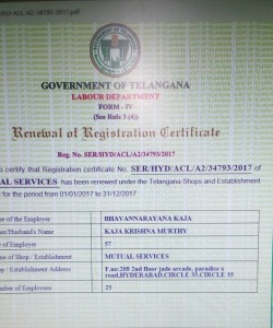 Labour Registration Certificate